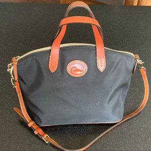 EUC Dooney & Bourke black nylon domed satchel